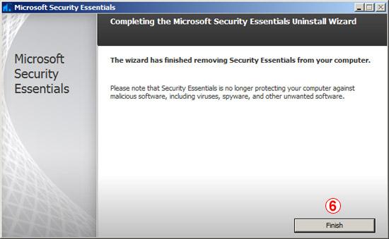 Windows Security Essentials Uninstall Wizard (Step 3)