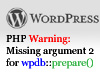 Missing argument wpdb prepare
